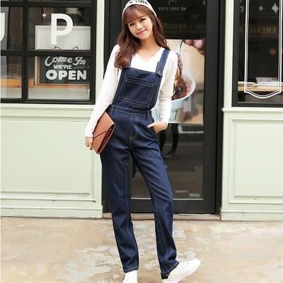 單寧吊帶褲(長褲)-俏皮個性寬鬆質感女牛仔褲73eo15【時尚巴黎】