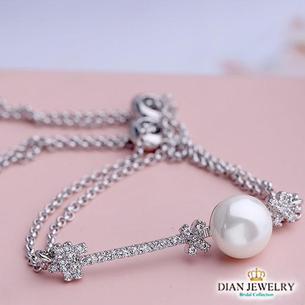 【DIAN 黛恩珠寶】珍珠鑰匙 CZ鑽造型手鍊(LY91053)