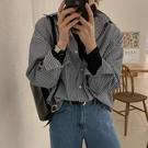 襯衫女設計感小眾條紋長袖上衣春季新款寬鬆中長款襯衣外套潮 【全館免運】