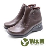 W&M 真皮圓圈吊飾 拉鍊內增高短靴 女靴-咖(另有黑)