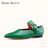 平底鞋 全真皮時尚舒適尖頭瑪麗珍女式鹿皮鞋【Kacey Devlin 】