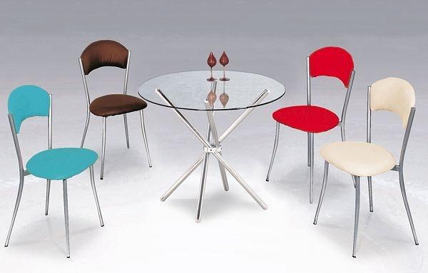 HY-Y296-1 2.5尺圓電金交叉腳餐桌(電金/強化玻璃)