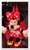 ♥小花花日本精品♥《Disney》迪士尼 米妮 後背包 玩偶造型 紅色點點 蝴蝶結香港限定 90209703