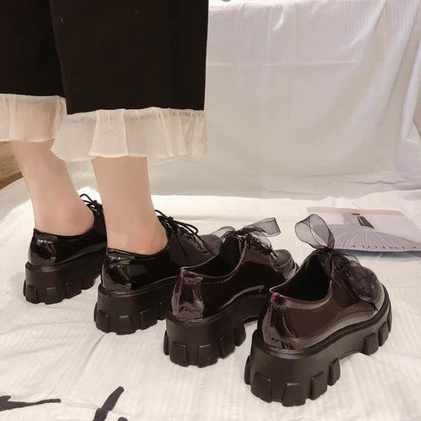 配裙子小皮鞋女英倫2020新款百搭厚底高跟復古黑色工作鞋春秋單鞋 米娜小鋪