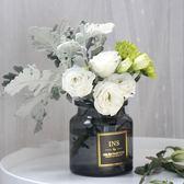 (交換禮物)花加flowerplus花瓶寬口裝客廳透明小號玻璃花瓶插花鮮花瓶干花瓶