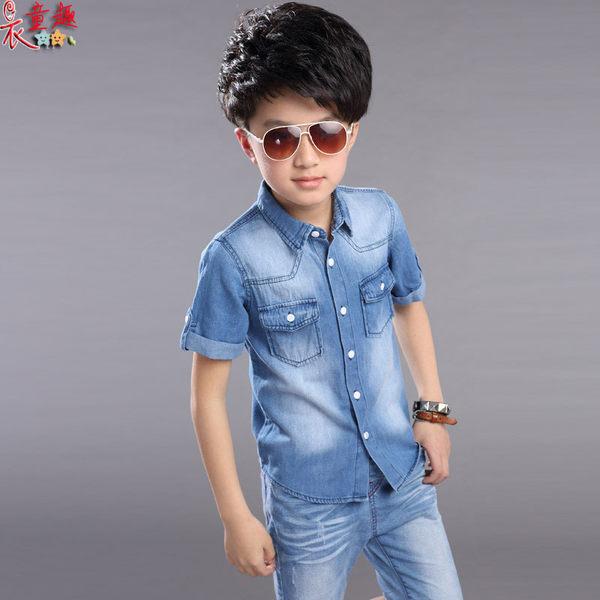 衣童趣 ♥男童帥氣牛仔套裝 韓版百搭款個性休閒兩件式 襯衫+牛仔五分褲