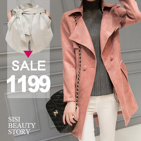 SISI【C6005】經典時尚修身顯瘦質感大翻領麂皮絨單扣中長款長袖風衣夾克外套