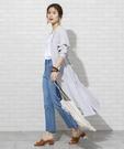 直條紋 立領襯衫洋裝 法國亞麻 日本品牌...