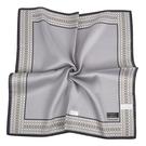 TRUSSARDI簡約菱格飾邊純綿男士帕巾(灰色)989009-144