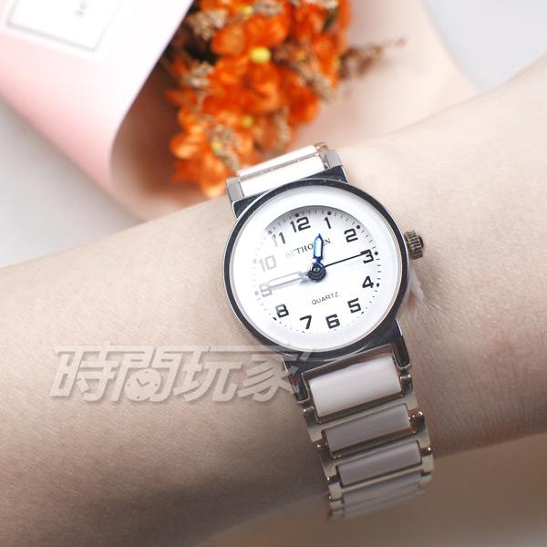 BETHOVEN 日本機芯 都會時尚數字時刻 防水手錶 女錶 白色 BE3984白小