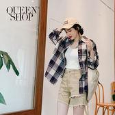 Queen Shop【01023391】 穿搭推薦 撞色大格紋棉麻襯衫 兩色售*現+預*
