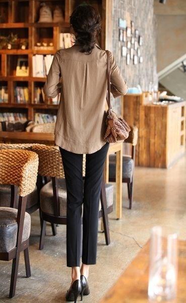 東京奈奈中大尺碼翻領七分袖開衫中長款修身襯衫上衣[L76581]