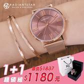 女人愛美愛自己剛剛好的喜歡1+1獨家超值禮盒手錶鈦鋼手環二件組【WKTL0478-379-1】璀璨之星☆