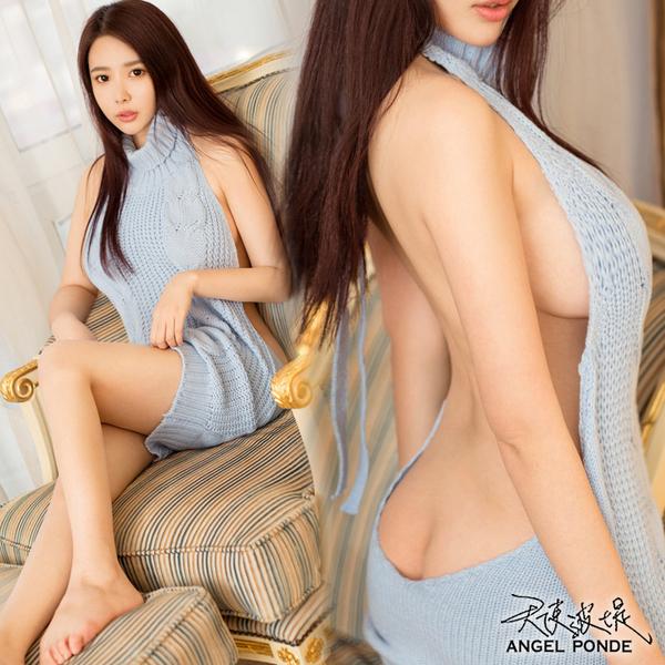 天使波堤【LE0083-3】前後二穿裸露高領針織繫帶蕾絲罩衫死庫水網襪吊帶襪大尺碼-水藍色(共三色)