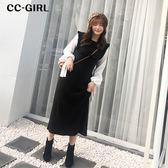 中大尺碼 假兩件磨毛黑色長袖洋裝 - 適XL~4L《 67305 》CC-GIRL