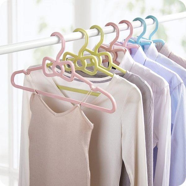 素色加厚衣架家用成人塑料衣服晾曬衣架可愛蝴蝶結無痕衣撐衣掛