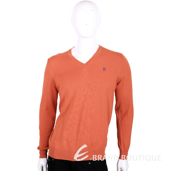 TRUSSARDI 橘色刺繡LOGO V領長袖針織衫 1510818-17