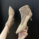 尖頭靴 女鞋2020夏季新款網靴馬丁靴鏤空尖頭高跟鞋網紗透氣細跟短靴涼靴 阿卡娜