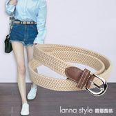 皮帶女帆布鬆緊 簡約百搭學生編織細腰帶裝飾牛仔褲腰帶 LannaS
