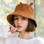 漁夫帽子女韓版潮休閒百搭chic日系甜美可愛學生防曬遮陽帽  極有家