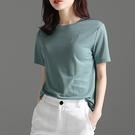 涼感衣 白色短袖黑科技t恤女圓領夏正韓顯瘦寬鬆涼感上衣潮-Ballet朵朵