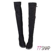 長靴-TTSNAP 顯瘦纖腿細緻絨面側拉鍊過膝靴 黑
