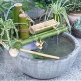流水擺件 陶瓷魚缸竹子流水器噴泉招財風水輪擺件創意水循環石槽造景過濾器 名創