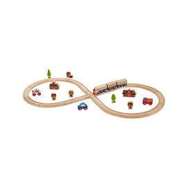 適用1歲以上幼兒 無毒玩具 德國EverEarth環保系寶寶成長木玩 8字形軌道火車組 小火車 積木
