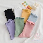 3雙裝 木耳邊糖襪子女堆堆襪韓國日系彩色中筒襪【少女顏究院】