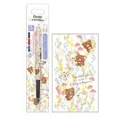 San-X 日本製PENTEL ENERGEL夾式三色溜溜筆 0.5mm RILAKKUMA拉拉熊 牛奶熊 摘花 白