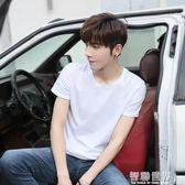 男士T恤 夏季潮流男士短袖T恤衫打底寬鬆純色韓版白色半袖體桖男裝上衣服 智聯