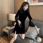 改良旗袍短款秋季新款絲絨復古黑色蕾絲拼接性感開叉連衣裙女
