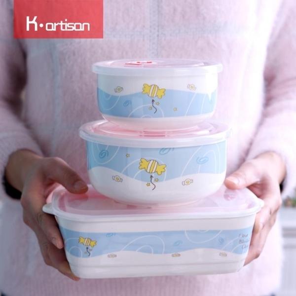 陶瓷分格便當盒 密封套裝碗帶蓋微波爐飯盒  快速出貨