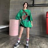 短袖上衣T恤 長版1061#中長款前短后長BF風綠色短袖t恤女寬松大碼上衣NC416紅粉佳人
