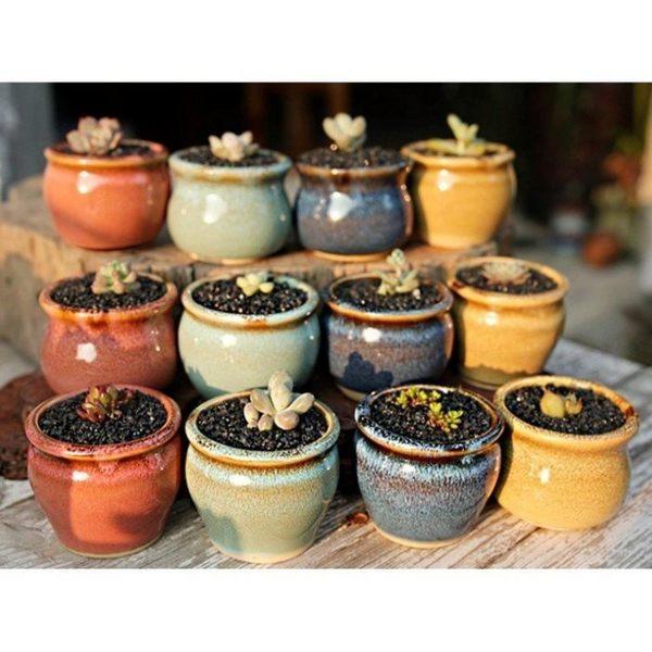 CARMO彩釉系列拇指盆(單個隨機) 陶瓷花盆【BI15004】