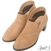 Ann'S倫敦愛情-前低側V素面粗跟短靴-杏