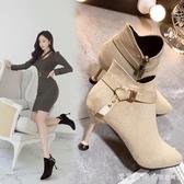 裸靴女秋季2019新款馬丁靴踝靴細跟百搭網紅高跟鞋冬天瘦瘦小短靴 漾美眉韓衣