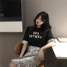 出清288 韓國風時尚袖口bulingbuling亮片設計印花圓領短袖上衣