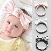柔軟條紋寬版蝴蝶結彈性髮帶 髮帶 兒童髮飾 頭髮造型用品