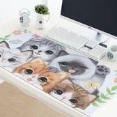 電腦桌墊 萌貓咪可愛創意滑鼠墊 防水加厚鎖邊防滑辦公桌墊 超大鍵盤墊子 米蘭街頭