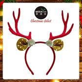 摩達客耶誕派對-大鹿角圓點耳毛球造型髮箍-紅色系 YS-PDH20002