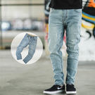 牛仔褲 小抓破淺刷色素面小直筒牛仔褲【N...