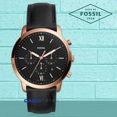 FOSSIL 手錶專賣店   FS5381 時尚三眼男錶 皮革錶帶 黑色錶面 防水50米 計時功能