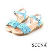 SCONA 蘇格南 全真皮 典雅雷射雕花厚底涼鞋 藍色 22705-2