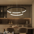 吊燈 簡約現代環形吊燈led圓形餐廳客廳燈個性辦公室書房創意餐吊燈 mks新年禮物