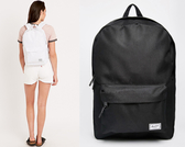 Hsin 85折 現貨 Herschel Classic 中型 黑色 全黑 帆布 防潑水 簡單 基本款 書包 女生 後背包