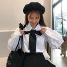 小清新學生韓版寬鬆白襯衫女秋裝新款學院風蝴蝶結領帶泡泡袖襯衣