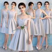 伴娘禮服新款韓版灰色姐妹團伴娘服夏季顯瘦短款宴會連衣裙女