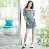 [H2O]前不對稱抽褶極顯瘦短褲裙-綠/黑色 #8678005 春夏↘7折