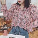 LULUS特價-Y花朵荷葉邊縮袖襯衫-粉  【01190141】